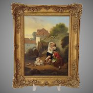 Children Taking Chicks From Mother Hen Italian Victorian Oil On Board Painting