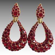 Large Red Rhinestone Hanging Loop Earrings