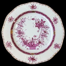 Herend Raspberry Indian Basket Dinner Plate 10""