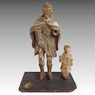 Santo Group Saint and Child 19th Century Figures