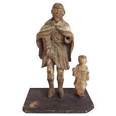 Santo Group Saint and Child 19th Century Figures