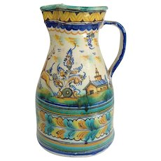 Faience Pitcher Stag And House Italy 12""