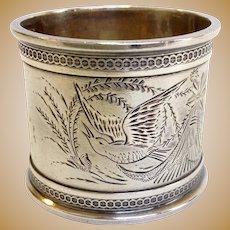 Bird Coin Napkin Ring Circa 1890