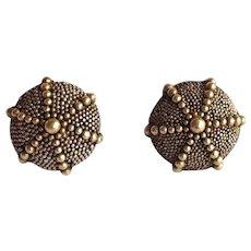 Sea Urchin Earrings Sterling Gold