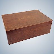 Antique French Cashmere Box Inlaid 'Cachemires'