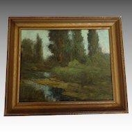 River Landscape Oil Ralph V. Miller 1920's