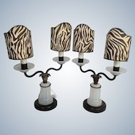 Pair Opaline Glass Lamps Marble and Brass 1920's