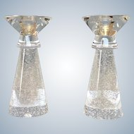 Steuben Stardust Glass Bubbled Candlesticks 7 7/8""