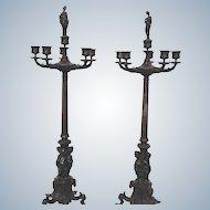 Pair of Bronze Figural Lady Candelabra Circa 19th Century