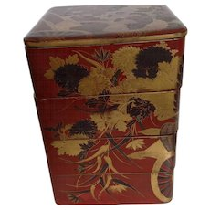Lacquer Japanese Stacking Boxes Meiji