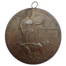 Bronze Dead Man's Penny Commemorative Medal Harry Pykett