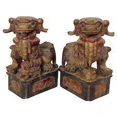 Carved Chinese Foo Dogs Architectural Circa 19th Century