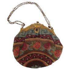 Gilt Brass Frame Pastel Crochet Purse 1930's