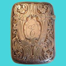 Engraved Match Safe or Vesta Sterling Circa 1910