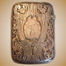 Engraved Match Safe or Vesta Sterling Circa 1910