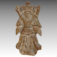 Angel Carved Wood Fragment Spanish Colonial