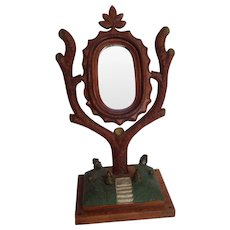 Folk Art Tree Mirror Stair Step Base American 1880's