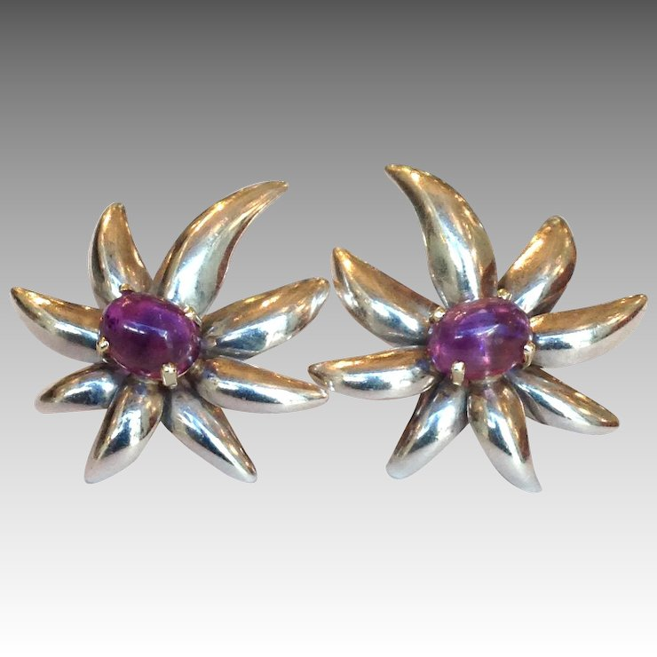 Tiffany Amethyst Fireworks Earrings Sterling 18k