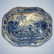 "Large Oriental Sports Pearlware Well and Tree 19"" Platter 'Doorehas Leading Out the Dogs'"