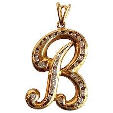 Diamond 'B' Pendant or Charm 18 Karat