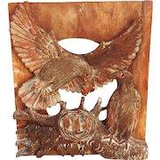 Eagles Nest Eaglets Wood Carving Antique