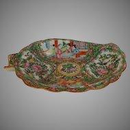 """Rose Mandarin Leaf Dish Mid Nineteenth Century 8.4"""""""