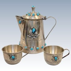 Native American Turquoise on Sterling Coffee Pot and Two Cups