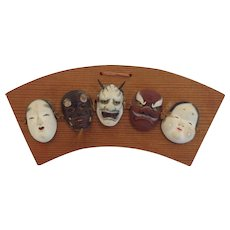 Miniature Japanese Noh Theater Masks on Wood Plaque