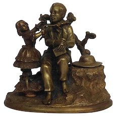 Uncle Remus and Little Eva  Brass Figural Inkwell Victorian