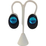 Wendy Gell Black and Aqua Retro Earrings