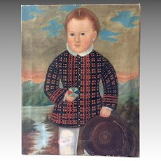 Scottish Boy with Ball Folk Painting Antique