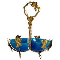 Blue Opaline Double Salt Dish Gilt Brass Grand Tour