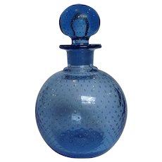 "Blue Controlled Bubble Perfume Bottle 8 1/2"""