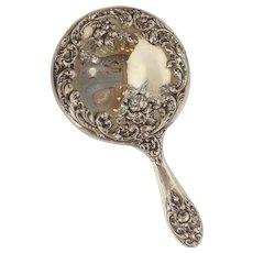 Rose Hand Mirror Sterling F&B