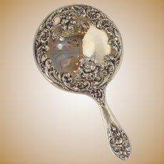 Rose Hand Mirror Sterling F&B