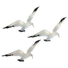 Flying Bird Pins Enamel and Sterling Trio