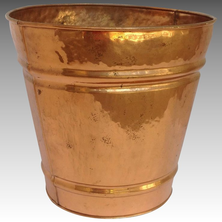 Charmant Hammered Copper Trash Can 1950u0027s