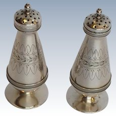 Gorham Aesthetic Salt and Pepper Shakers Sterling Circa 1872