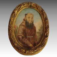 Miniature Monk Painting Italy Antique