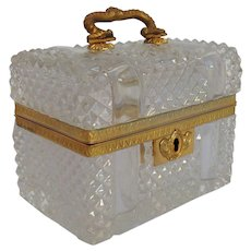 Baccarat Casket Gilt Bronze Cut Glass