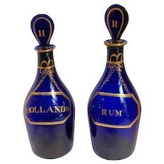 Bristol Blue Decanters Pair Rum and Hollands 18th c.