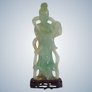 Antique Quan Yin  Carved Fluorite on Stand