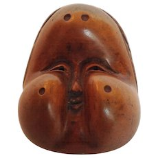 Japanese Netsuke Carved Wood Mask 2""