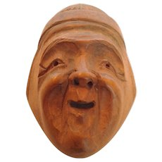Japanese Netsuke Carved Wood Mask