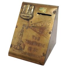 Antique Telephone Penny Box Kenilworth Castle Brass