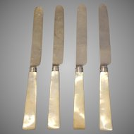 English Sterling Knives with Mother of Pearl Handles Group of 4