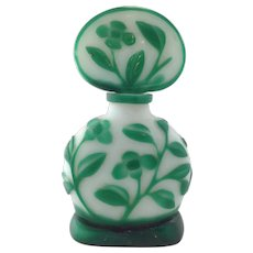 Pekin Green Overlay Glass Perfume Bottle China