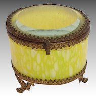 Yellow Glass Box Gilt Brass 19th c.