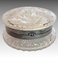 "Rare Cut Glass Dresser Powder Jar with Mirror 5 3/4"" Circa 1900"
