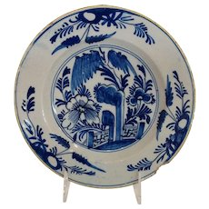 "Antique Garden Gate Floral Delft Plate 8"" 18th c."